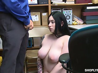 Guilty tattooed black pot-head with huge saggy boobs Amilia Onyx is fucked by cop