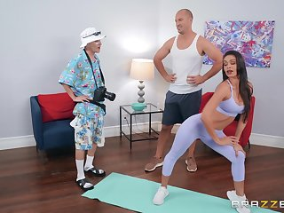 Sporty Latina bombshell Katana Kombat rides cock after a workout