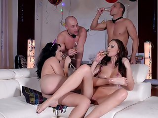 Wild party leads the horny wives to nutty as a fruit cake sex