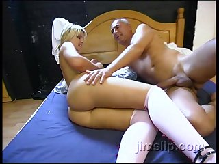 Short haired tow-headed babe Elle Brooke pounded changeless by an older guy