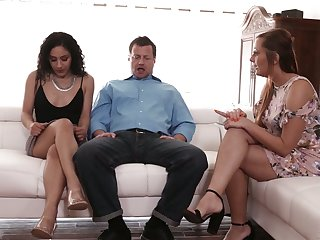 Perverted husband invites sexy co-worker for having dirty couple trine mating