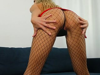 Changeable skinny chick in red attire Nikki masturbates her insatiable horrific pussy