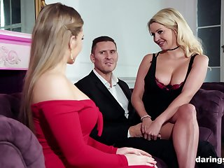 Blonde bombshell babes Sienna Day and Sienna Day with respect to turns exceeding a cock