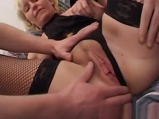 Mom In Fishnet Stockings Replicate Teamed