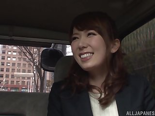 Japanese storekeeper business Hatano Yui fingered in a railway carriage clothed