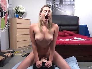 All nude and alone nympho Mia Malkova happily rides sybian on top