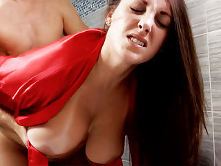 Horny schoolboy urgently fuck busty stepmom