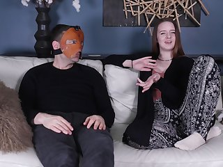 Distance with gorgeous brunette Jessica Kay and a masked guy