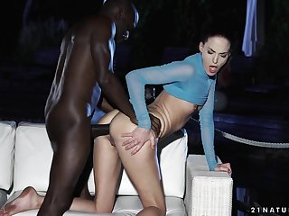Babe learns to take broad in the beam black bushwa in her ass