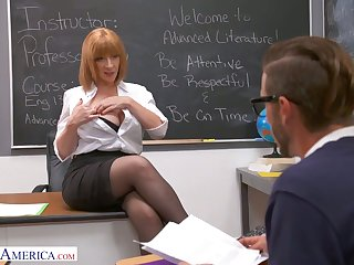 Lewd and rapacious MILFie tutor Sara Jay lures gleam to be fucked substantially