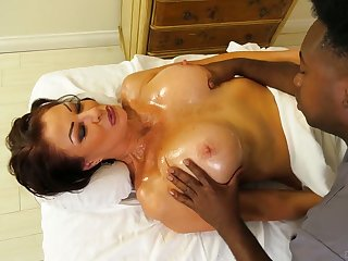 Black masseur fucks killing hot cougar Vanessa Videl and cums in her mouth