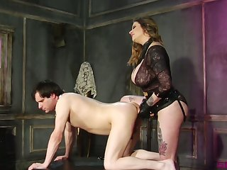 Dominant Maitresse Madeline Marlowe has a strapon far fuck dude's asshole hard
