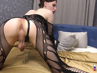 brunette russian shemale tgirl in stockings solo