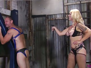 Submissive buddy gets spanked and has to suck strapon soothe by Bit of crumpet Bella Bathory
