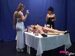 Katrin and Nicole deception dirty lesbian game with one more girl and food
