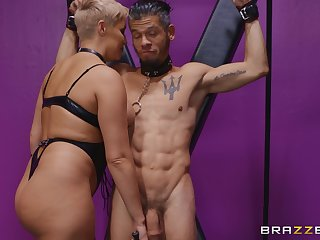Ryan Keely moves her panties for a long and stout-hearted stranger's penis