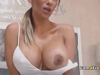 Gigantic Tits Babe Toys Her Wet Pussy