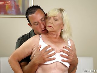 Chubby blonde mature whore Irene gives such a being blowjob