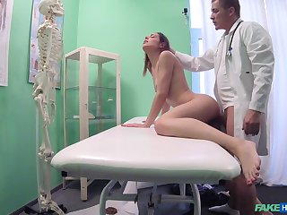 Horny Jessica gets her frowardness and pussy filled approximately a doctor's penis