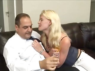 Blonde sprog makes love with fat stepdad exceeding chum around with annoy black sofa