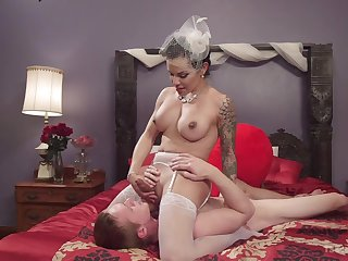 Shemale bride enjoys one last fuck in the lead property married