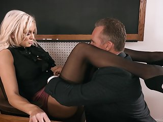 Strict looking busty blonde principal Kenzie Taylor lures dude to be thrilled by mad