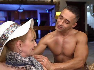 Wrinkled mature lady Nanney is picked hither by dude who is eager to lick her twat