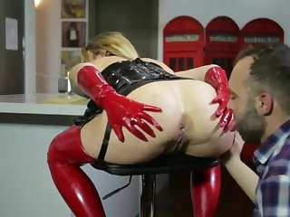 Blond Seta Bitch Got Laid in Red with an increment of Black Latex Facial