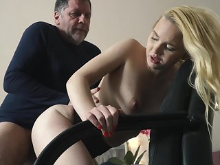 Teen on her knees sucking on grandpa cock deepthroat