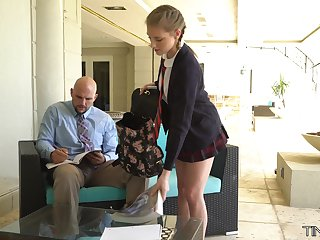 Cute student with petite synod Melody Marks is fucked wide of tall big teacher J Mac