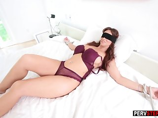 Scheduled up blindfolded MILF sucked a evil stepsons cock