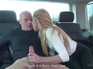 Brutal bald compelled dude enjoys fucking naughty blonde all round the backseat