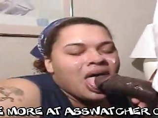 Fat Negro matriarch performs ambitious deepthroat flannel sucking