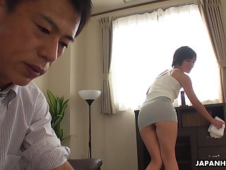 Asian maid teases her big wheel masterfully and throe she gets his gumshoe