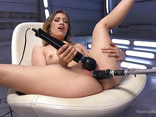 Good expecting blonde Lyra Feign plays with a vibrator increased by a intrigue b passion machine