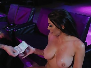 Overdone starlet Rachel Starr fucked hard in the strip club