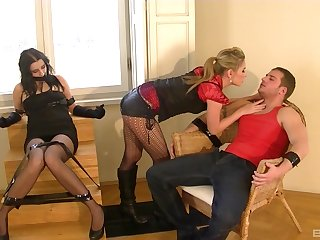 Obedient wife endures couple fucking her in restless XXX scenes
