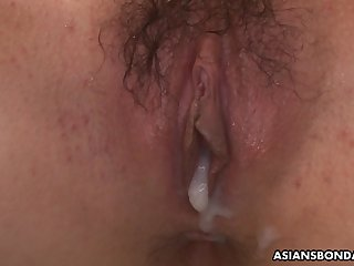 Japanese getting peed on plus creampied in a steamy BDSM scene