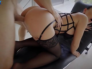 Seductive masked babe Honey Demon fucks as debauched
