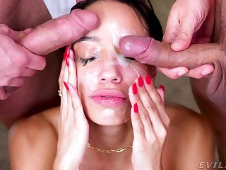 Full facial for the spectacular pet after she throats like a goddess