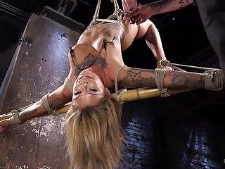 Demure blonde endures rough clamping, ass also gaoling surrounding brutal BDSM