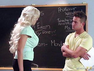 Blonde college teacher Nina Elle loves having sex with her student