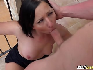 Awesome brunette, Ashley Dark is sucking cock t explanations it hard enough for her shaved pussy
