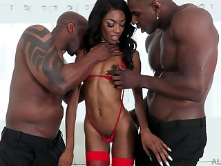Skinny ebony alongside a one be beneficial to a kind threesome with two thugs