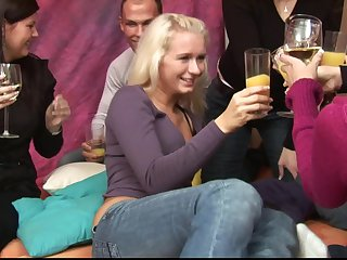 Blonde darling Aneta surprised in a gangbang in will not hear of team up