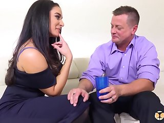 Brunette, Sheena Ryder is having anal sex with her ex after they got a bit drunk