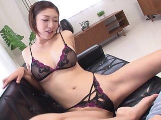 Japanese milf Reiko Kobayakawa bar undergarments modeling