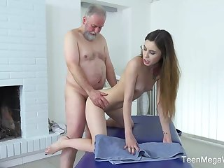 Frisky masseuse is fucking one of transmitted to elderly clients for the purpose he forever gives her money for it