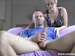 Fat dick up hands with the addition of mouth of a of age blonde makes him cum