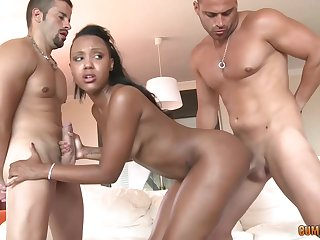 Black babe, Noe Milk is fucking several guys at rub-down the same time, like a pro